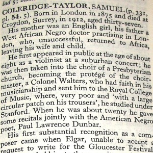 Samuel Coleridge-Taylor (part) entry in 1955 Oxford Companion to Music