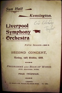 Samuel Coleridge-Taylor in Liverpool 19 October 1908 front page of programme, with handwritten annotation that the concert of his works was conducted by Coleridge-Taylor himself