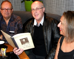 11.11.19 SCTF Robert Eichert, Richard Gordon-Smith & Chumki Banerjee with Jessie SCT's book Liverpool
